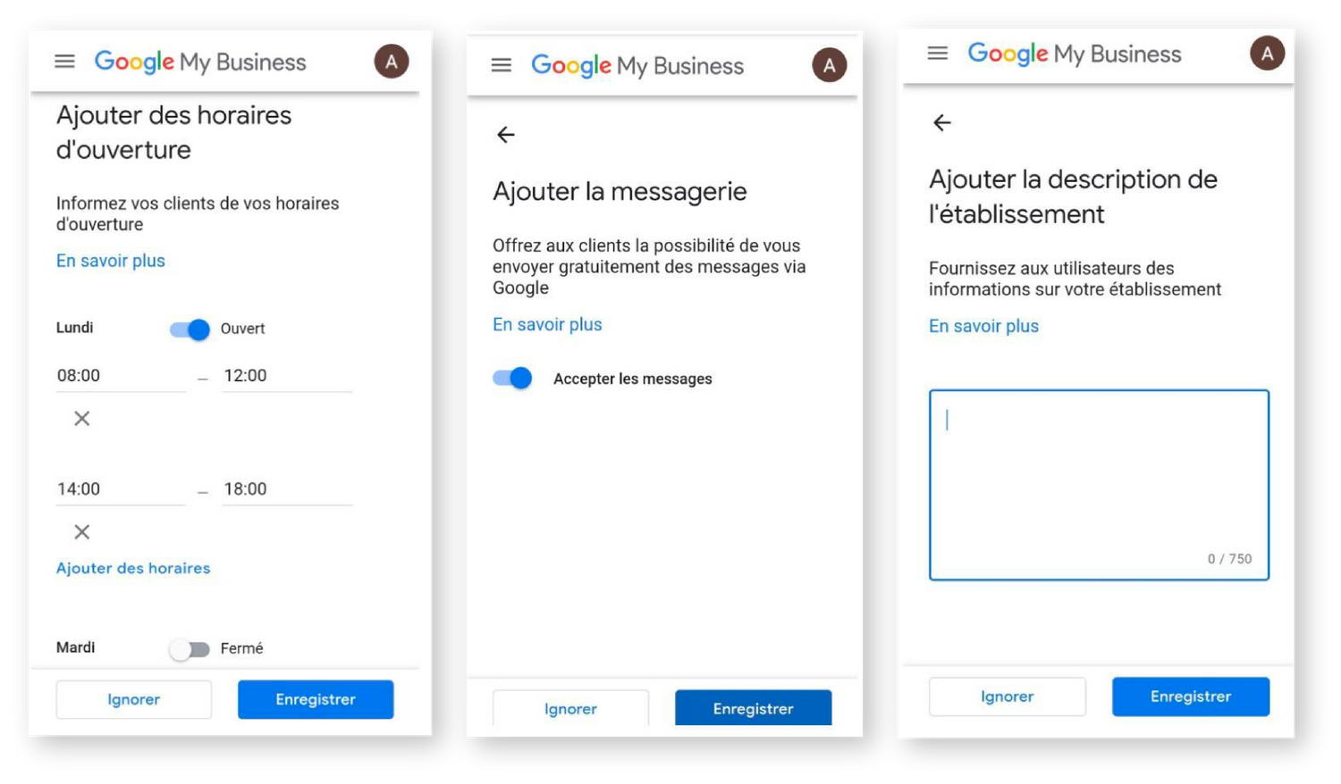 Étape inscription Google my Business